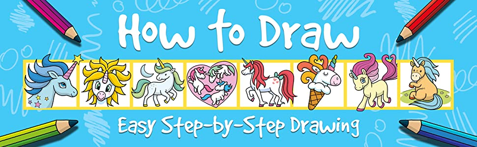 How to Draw – Easy Step-by-Step Drawing text with unicorns and pencils on black background