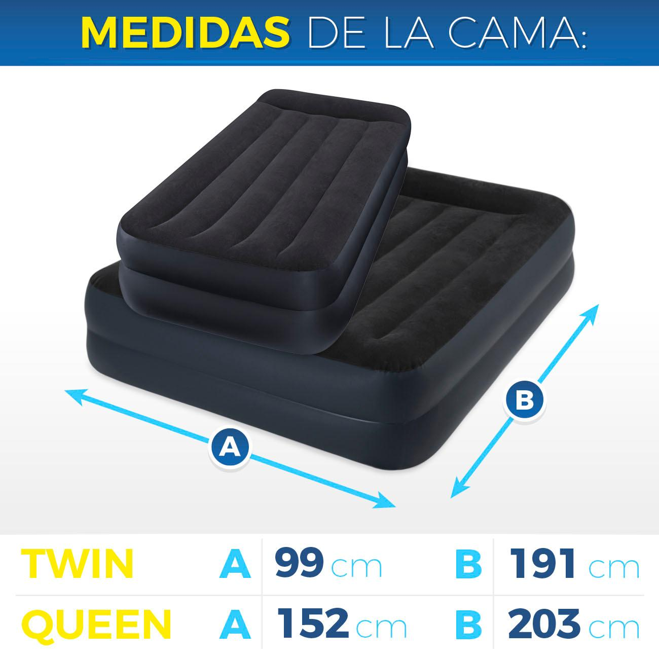 Intex colch n hinchable dura beam standard pillow rest for Medidas de colchon individual