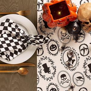 aothpher table runner,hallwen,halloween skeleton print,hallowwen table cloths,halloween skeleton