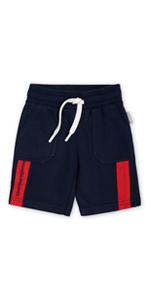Pantalones cortos para niños pequeños, cómodos, color rojo, azul, verano, primavera, cortos, a rayas, para guardería