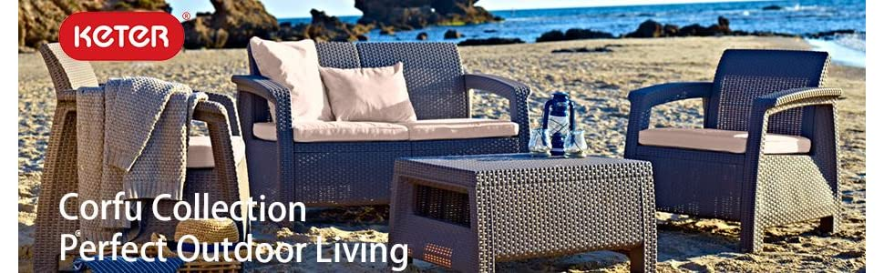 Keter Corfu Patio Furniture Set TAble and Chairs Collection on the beach