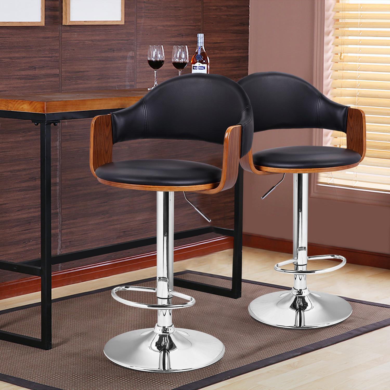 Adeco Black Leathette And Walnut Color Wood Hydraulic Lift