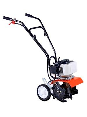 heavy duty gas mini tiller cultivator steel tines soil aeration digging dirt landscape garden lawn