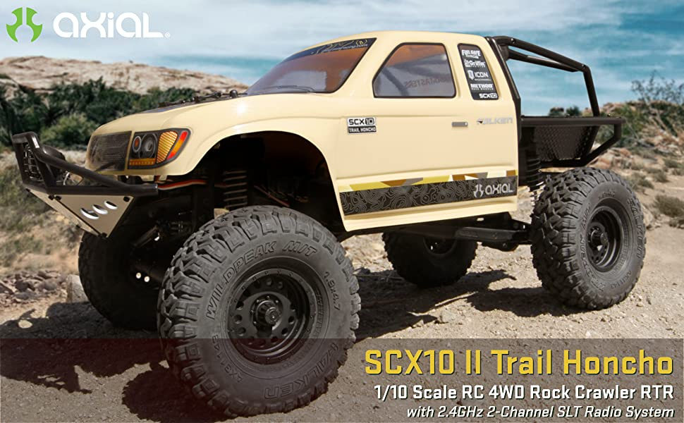 Axial SCX10 II 1/10 scale radio control rock crawler comes with a 2.4GHz 3-channel radio system