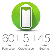 60 min Full charge, 5 min Quickcharge, 45 min Shaving, electric shaver, best shaver