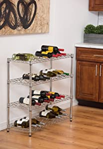 Trinity EcoStorage 4 Tier Wine Rack | 36u201d X 14u201d X 34.5u201d | NSF | Chrome