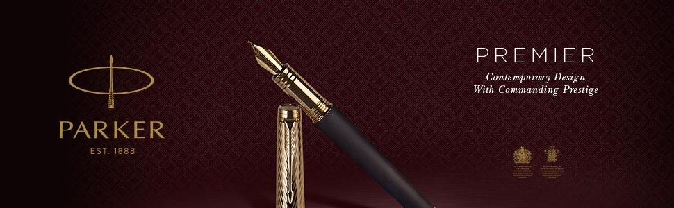 PARKER 1931414 Premier Fountain Pen, Medium Nib with Black Ink Refill -  Deep Black Lacquer with Chrome Trim