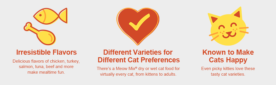 Meow Mix Cat Food Irresistible flavors, varieties for different cat preferences, makes cats happy