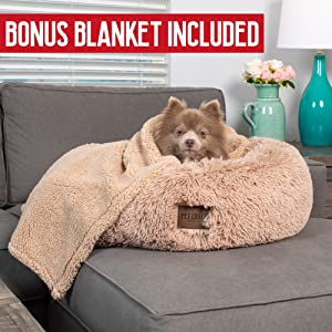 Pet Craft Supply Soft Plush Vegan Faux Fur Calming Dog Donut Self-Warming Bed Blanket Combo