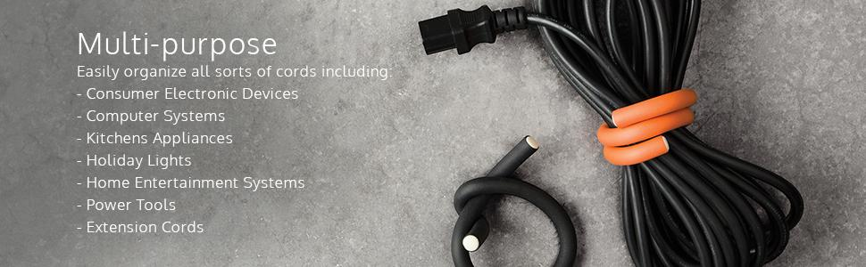 cable wrap, cord wrap, cord organizer, cable organizer, reusable cable ties
