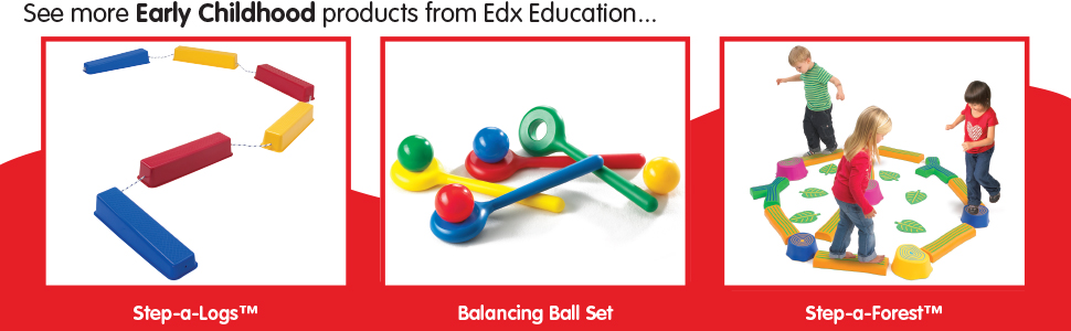 28 Pieces in Home Learning Supplies for Kids Physical Play Exercise and Gross Motor Skills Edx Education Balancing Path Indoor and Outdoor Build Coordination and Balance