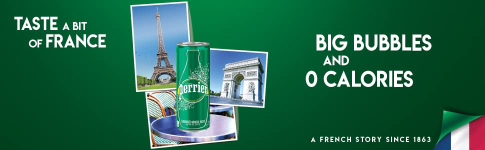 Perrier Sparkling Natural Mineral Water 330mL slim can France Big Bubbles 0 calories