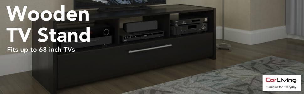 Corliving Tnp 608 B Naples Tv Component Bench In Wood