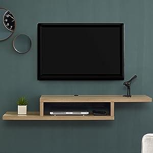 Amazon Com Martin Furniture Asymmetrical Floating Wall Mounted Tv Console Columbian Walnut 60inch Furniture Decor