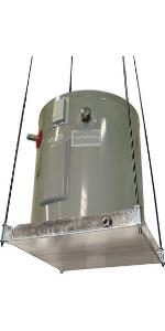 40 gallon tank stand, holdrite hot water heater stand, galvanized wall shelf, hot water heater pan