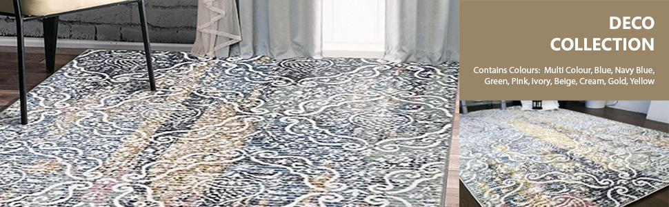 Coloured 150x225cm Contemporary Multi 411x75ft Geometric Medium Area Rugs A2Z Rug Deco Ceramic Collection Modern