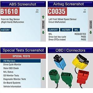 Actron CP9690 Screenshots OBD I Connectors Screen Displays Tests Code Reader