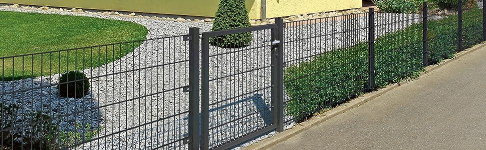 Stabmattenzaun Zubehör Doppelstabmattenzaun Pfostenhalterung Zaun 10 teilig Set