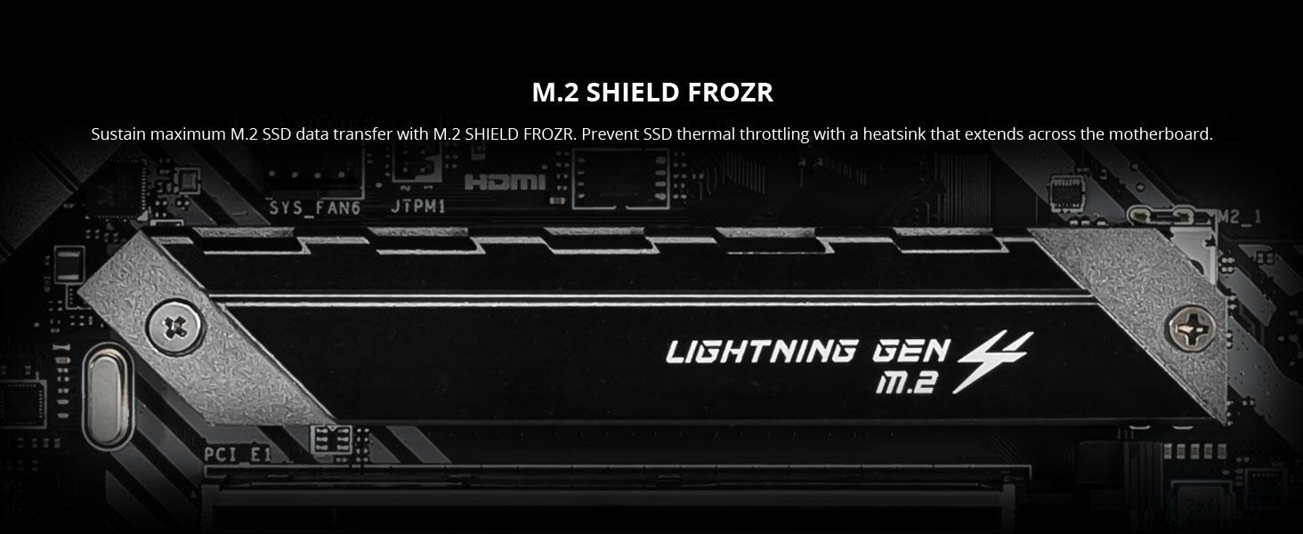 msi mag b550 tomahawk m.2 shield frozr nvme ssd thermal throttling heatsink cooling