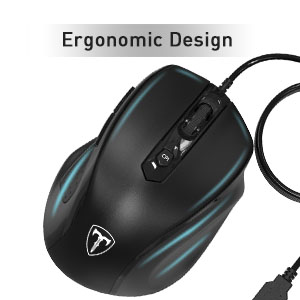 Gazechimp Optical Mouse with 6 Buttons and 3 Adjustable 600//1000//1600 DPI for Computer White