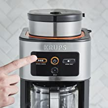 KRUPS coffee maker, coffee maker, grind and brew, built in grinder, coffee maker, personal coffee