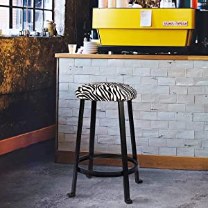 bar stools, chairs, set, kitchen, counter, metal frame, cow print, linen, farm style, cowhide, brown