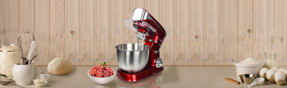 Syntrox KM-6.5L Basic Red Küchenmaschine Food Processor Knetmaschine B-Ware