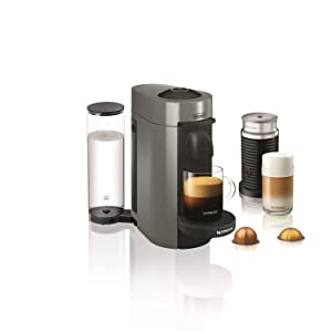 Nespresso by DeLonghi ENV150GYAE VertuoPlus Coffee and Espresso Machine Bundle with Aeroccino Milk Frother by DeLonghi, 5.6 x 16.2 x 12.8 inches, ...