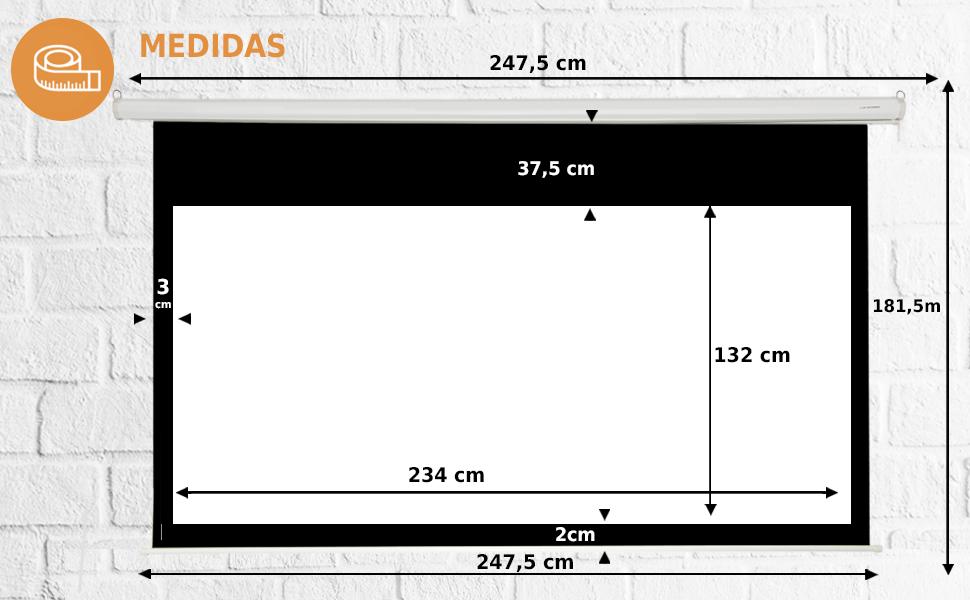 """pantalla de proyección manual 106"""" 16:9, pantalla de proyección manual amazon, pantalla proyector"""