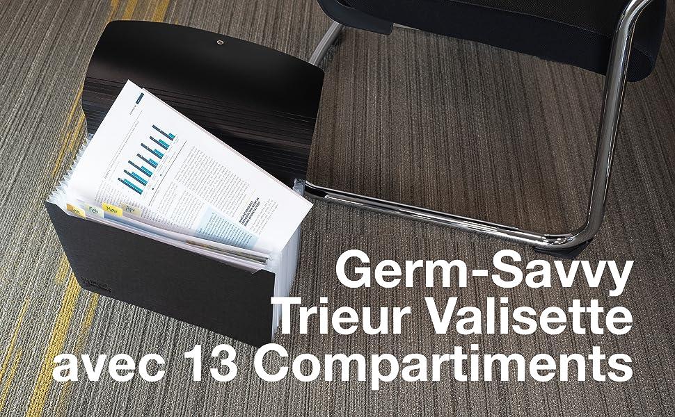 1638 Germ-Savvy Antibacterial 13-Part Expanding File A4 - Black