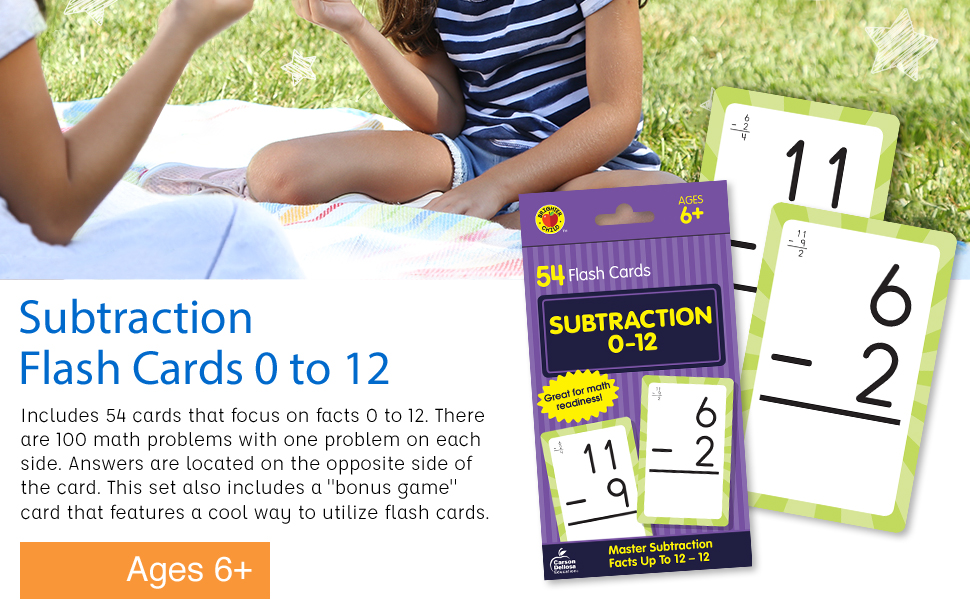 Image of our subtraction flash cards and the packaging