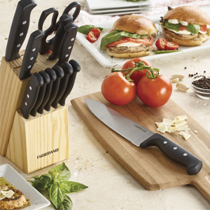 knife block; knife storage block; knife set with kitchen tools; knives in a block; knife set block