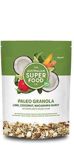 lime coconut macadamia burst granola paleo breakfast healthy organic seeds based protiens plant