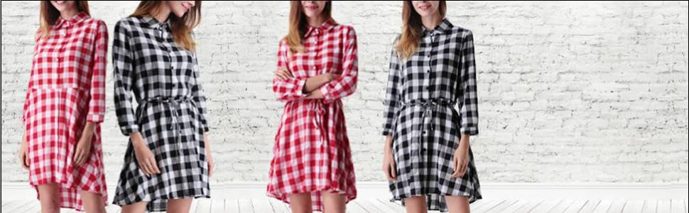 d441f6ac630 MAVIS LAVEN Women s Long Sleeve Plaid Shirt Dress High Low Tunic T ...