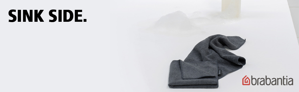 Sink Side schoonmaakdoekjes microvezel 30 x 30 cm, set van 2 dark grey