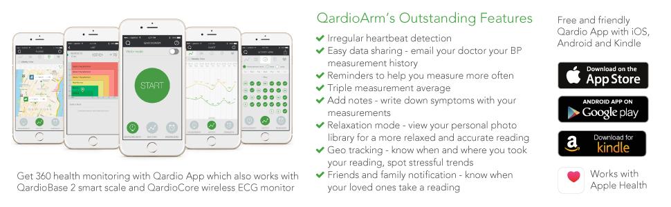 QardioArm Blood Pressure Monitor: FSA-Eligible, Medically Accurate, Compact  Digital Upper Arm Cuff  App