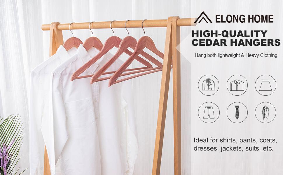 Smooth Surface Slim Cedar Wood Coat Hangers Wooden Suit Hangers with 360/° Swivel Hook ELONG HOME American Red Cedar Hangers 20 Pack Great for Refresh Closet