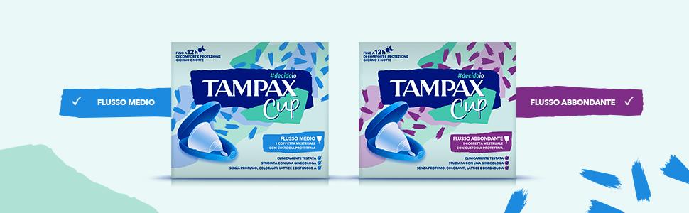 Tampax Cup, copa menstrual reutilizable con funda protectora Flujo medio