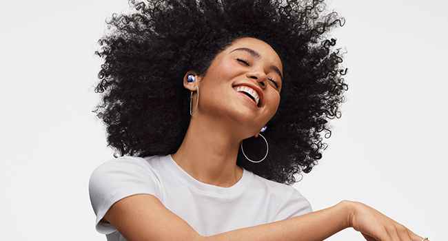 Person wearing Galaxy Buds Pro Violet
