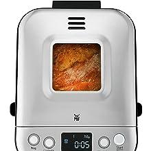 WMF Kult X Panificadora 450 W, compacta, 12 programas incluyendo recetas sin gluten, con pantalla de cristal para ver el proceso y acabados en Acero ...