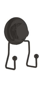 7.1 x 5.5 x H.13.5 cm COMPACTOR Gancio Bagno Doppio Fissaggio a Ventosa RAN9773 Fino a 6 Kg Acciaio Nero Opaco Antiruggine
