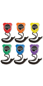 Champion Sports Stopwatch Set, Handheld Digital Timer Sport Watch, 6 Pack