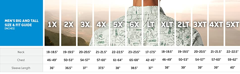 Men's short sleeve shirt big and tall size and fit guide