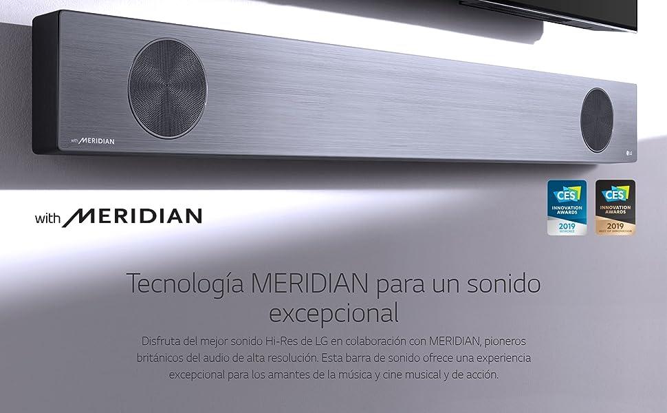 LG SL9YG - Barra de Sonido 4.1.2 con Tecnología Meridian (500 W, Asistente de Google en Español Integrado, Dolby Atmos, DTS:X, Hi-Res 24 bits/192 kHz, ...