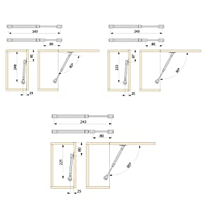 Emuca 1273525 Kit pistón amortiguador fuerza 11Kg carrera/recorrido 100mm para puertas elevables de mueble/cocina/baño, Gris (Peint Aluminium/Nickelé), 11 kg 100 mm (1 unidad): Amazon.es: Bricolaje y herramientas