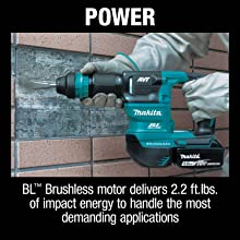 power BL brushless motor delivers 2.2 feet per pound of impact energy to handle the most demanding