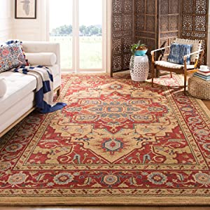 Safavieh Mahal Collection Mah698a Traditional Oriental Non Shedding Stain Resistant Living Room Bedroom Area Rug 9 X 12 Red Natural Furniture Decor