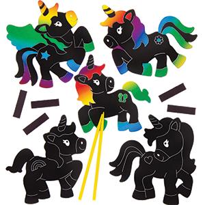 5 PONY HORSE Scratch Art Magnets for Kids to Design Kids Crafts Party Bag Filler
