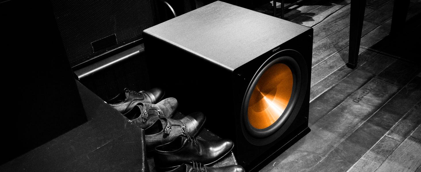Klipsch R-12SW premium subwoofer next to a closet of shoes