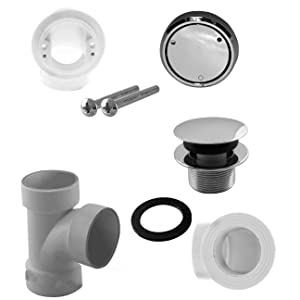 Westbrass Deep Soak Closing Overflow Plumbers Pack with Sch. 40 PVC Elbows and Tee, with an ADA aprroved Tip-Toe Drain, Antique Bronze, D593CHPM-12A